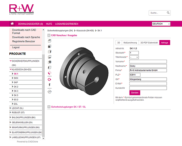 Expansion of the CAD PRODUCT CONFIGURATOR : Pressebox, R+W